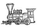 Vintage steam train hand drawn sketch cartoon illustration of Stock Photo