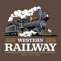 Vintage steam train locomotive, engraving style vector illustration. Logo design template Royalty Free Stock Photo