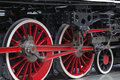 Vintage steam train wheels on display in national railway museum in york uk Stock Photos