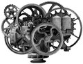 Vintage Steampunk Industrial Machine Isolated Royalty Free Stock Photo
