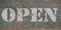 Vintage stencil open sign eroded wood Royalty Free Stock Images