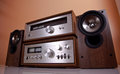 Vintage Stereo Amplifier tuner speakers Royalty Free Stock Photo