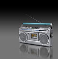 Vintage stereo radio cassette player of s dark background Royalty Free Stock Photo