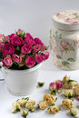 Vintage still life with dried flowers and decorative jars Royalty Free Stock Photography