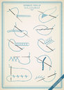 Vintage stitch type vector stitches collection of thread stitches illsutration of stitching examples Stock Photos