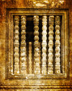 Vintage stone carved window in Angkor Wat Royalty Free Stock Photo