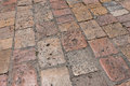 Vintage stone paved avenue street road Stock Photo