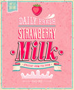 Vintage strawberry milk poster vector illustratio Stock Photo