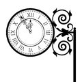 Vintage street clock vector illustration of Stock Images