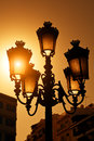 Vintage Streetlamp at Sunset Royalty Free Stock Photos