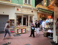 Vintage streets of old town in nice france may tourists and local people walking on the charming at may Royalty Free Stock Photo