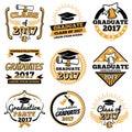 Vintage student graduate vector badges. Graduation celebration labels