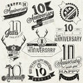 Vintage style anniversary collection ten design in retro labels for greeting hand lettering typographic and calligraphic Royalty Free Stock Photo