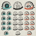 Vintage style anniversary sign collection cards design in retro Stock Photo