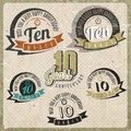 Vintage style anniversary sign collection ten card design in retro Stock Images