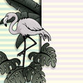 Vintage style banner with flamingo