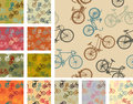 Vintage style bikes bike seamless pattern pack Royalty Free Stock Photography