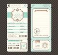 Vintage style Boarding Pass Ticket Wedding Invitation Template Royalty Free Stock Photo