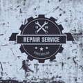 Vintage style car repair service label on rusty background. Vector logo design template Royalty Free Stock Photo