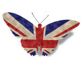 Vintage style england butterfly flag on white with clipping path Stock Image
