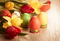 Vintage style flowers and easter eggs bouquet of spring for Royalty Free Stock Image
