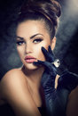 Vintage style girl beauty fashion portrait wearing gloves Royalty Free Stock Photography