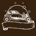 Vintage style hotrod illustration with banner Stock Photos