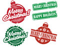 Vintage Style Merry Christmas Stamps Royalty Free Stock Photos