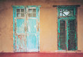 Vintage style old aged house door and window Royalty Free Stock Photo