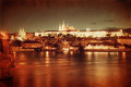Vintage style photo of prague at night czech republic Stock Photo