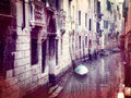 Vintage style photo of small canal in Venice Royalty Free Stock Photography