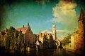 Vintage style picture of the famous rozenhoedkaai in bruges belgium Royalty Free Stock Photos