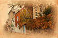 Vintage style picture of a road on Montmartre Stock Images