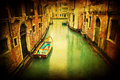 Vintage style picture of a typical canal in venice italy Royalty Free Stock Image