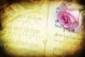 Vintage style pink rose and notes picture of a old photographs on a book with old music Stock Photo