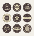 Vintage style retro emblem label collection set of nine labels on a light background Stock Images