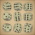 Vintage style set - vector dices Royalty Free Stock Photo