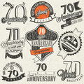 Vintage style seventy anniversary collection retro design labels for greeting hand lettering typographic and calligraphic symbols Royalty Free Stock Photos