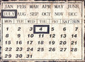 A vintage style universal calendar with date set to july th independence day in america Royalty Free Stock Images