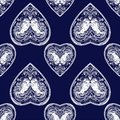 Vintage style vector heart seamless pattern. Royalty Free Stock Photo