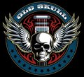 Vintage style vector skull with the wings and electric guitar on background, vintage vector logo.