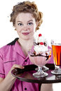 Vintage Style Waitress Serving Ice Cream Stock Photo
