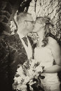 Vintage style wedding couple Stock Photography