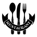 Vintage styled knife fork spoon restaurant seal Royalty Free Stock Photography