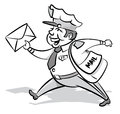 Vintage styled mailman with a letter illustration of delivering his letters to the back of beyond and back again Stock Image