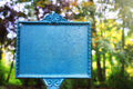 Vintage styled sign board in autumn park Royalty Free Stock Photo