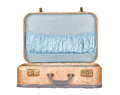 Vintage suitcase or luggage open, isolated Royalty Free Stock Images
