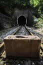 Vintage suitcase on railway road and tunnel Stock Images
