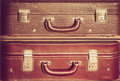 Vintage suitcases battered brown trave Royalty Free Stock Photography