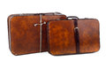 Vintage suitcases brown on white background Stock Photo